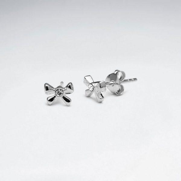 Puce d'Oreilles Argent Noeud Papillon
