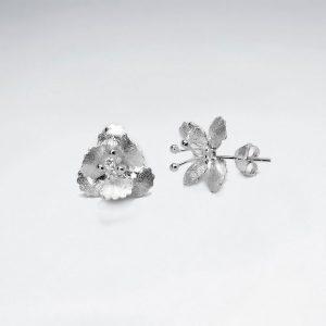 Puce d'Oreilles Fleur en Argent