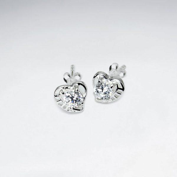 Puces Oreilles Argent Coeur Zircon Cristal